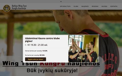 Screenshot of Home Page wingtsun.lt - Baltijos Wing Tsun KungFu asociacija - Wing Tsun KungFu kovos menas - captured Oct. 12, 2015