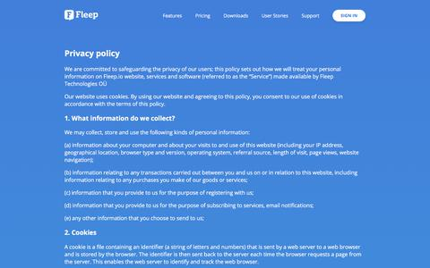 Screenshot of Privacy Page fleep.io - Fleep - Privacy Policy - captured Nov. 6, 2017