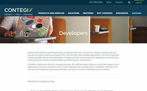 Screenshot of Developers Page contegix.com - Developers - Contegix - captured May 21, 2017