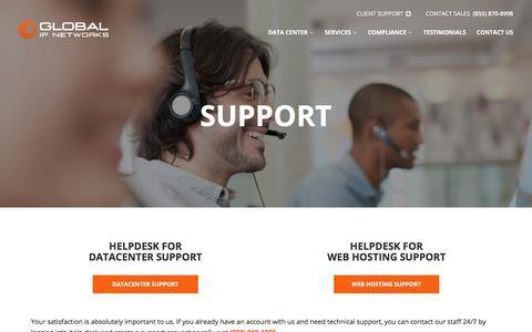 Screenshot of Support Page gipnetworks.com - Support - Global IP Networks - captured Aug. 8, 2017