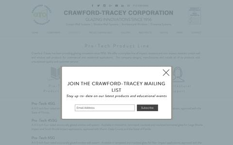 Screenshot of Products Page crawfordtracey.com - Crawford-Tracey   Curtain Wall Products - captured Sept. 30, 2018