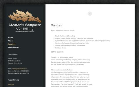 Screenshot of Services Page mentoria.on.ca - Services | Mentoria Computer Consulting - captured Oct. 27, 2014