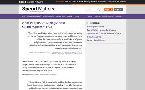 Screenshot of Testimonials Page spendmatters.com - What People Are Saying AboutSpend Matters™ PRO - Spend Matters - captured Aug. 18, 2016