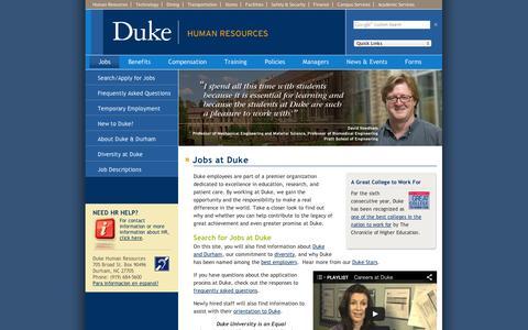 Screenshot of Jobs Page duke.edu - Duke Human Resources: Jobs at Duke - captured Sept. 11, 2014
