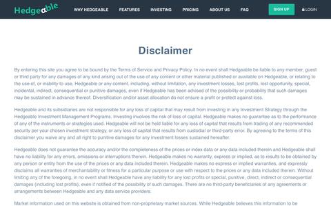 Hedgeable | Disclaimer