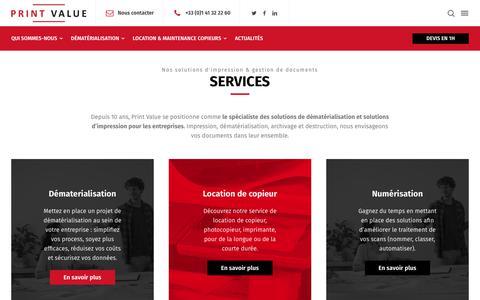Screenshot of Services Page print-value.fr - Nos services - Print Value - captured July 22, 2018