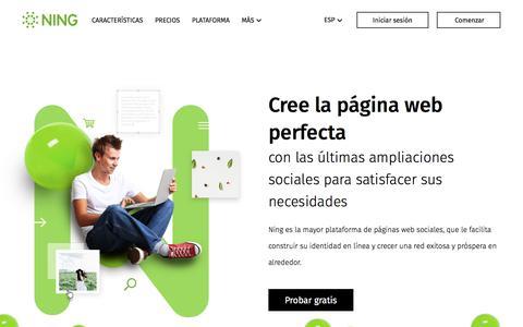 Screenshot of ning.com - NING: Editor de paginas web gratis - Crea tu propia página social - captured June 3, 2017