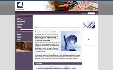 Screenshot of Home Page cursoforum.com - CURSOFORUM: Editorial y Factoría de Contenidos - Inicio - captured Oct. 1, 2014