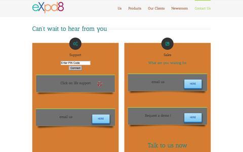 Screenshot of Contact Page expd8.com - Contact Us - eXpd8 - captured Oct. 29, 2014