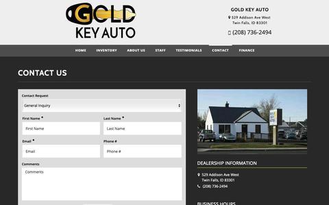 Screenshot of Contact Page goldkeyautocredit.com - Contact Gold Key Auto Dealership Twin Falls, ID 83301 - captured Sept. 29, 2018