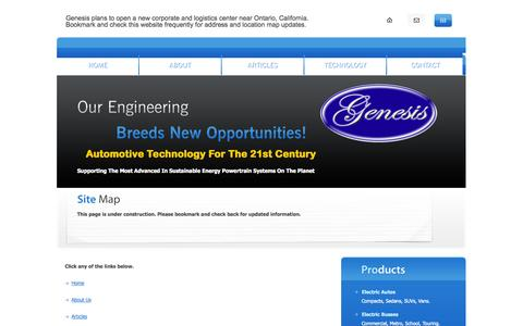 Screenshot of Site Map Page genesismotors.org - Site Map | Genesis Motors Corporation - captured Oct. 2, 2014