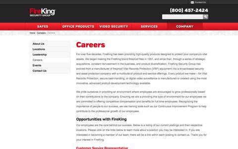 Screenshot of Jobs Page fireking.com - Careers - captured Feb. 9, 2016