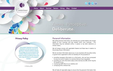 Screenshot of Privacy Page consciouscomms.com.au - Privacy Policy - Conscious Communications Group - captured Oct. 3, 2014