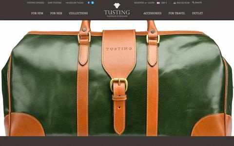Screenshot of Home Page tusting.co.uk - TUSTING | British-Made Luxury Leather Briefcases, Holdalls, Luggage and Handbags - captured Sept. 25, 2014