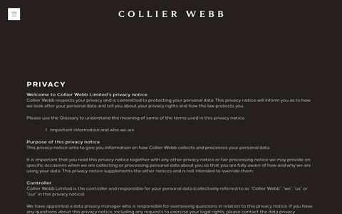 Screenshot of Privacy Page collierwebb.com - Privacy - Collier Webb - captured Dec. 15, 2018