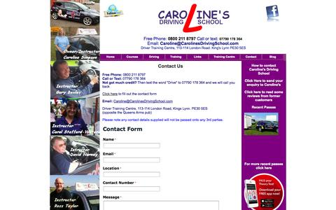 Screenshot of Contact Page carolinesdrivingschool.com - Contact - captured Sept. 29, 2014