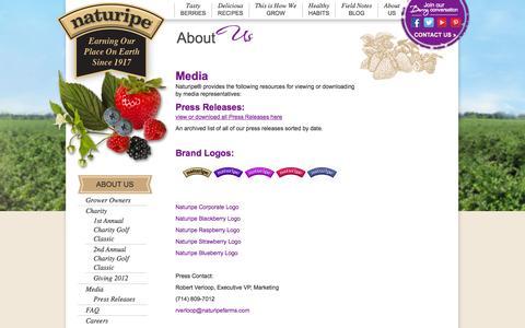 Screenshot of Press Page naturipefarms.com - Media | Press Releases & Corporate Logos - captured Sept. 23, 2014