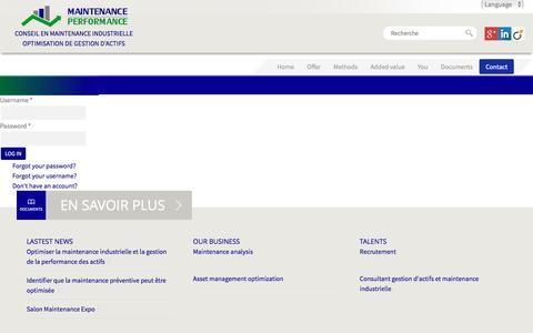 Screenshot of Login Page maintenance-performance.com - Register - captured Sept. 26, 2016