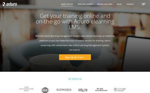Screenshot of Home Page adurolms.com - LMS - e Learning Management System | AduroLMS - captured Sept. 30, 2014