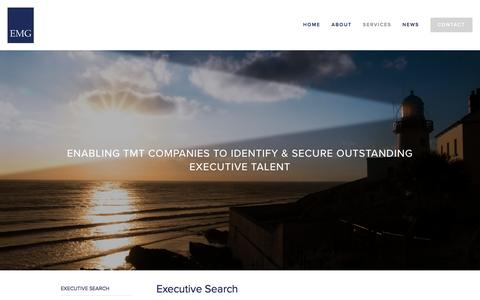 Screenshot of Services Page emgsearch.com - EXECUTIVE SEARCH - Home - Executive Search, Executive Recruitment, TMT Specialists, Technology, — EMG | Executive Search & Leadership Advisory | TMT, Technology, Media & Telecoms Specialists - captured Feb. 9, 2016