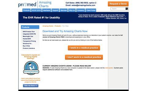 Screenshot of Trial Page amazingcharts.com - Start a FREE Trial of Amazing Charts   Amazing Charts Electronic Medical Records - captured Dec. 25, 2015