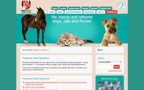 Screenshot of FAQ Page dchanimaladoptions.com.au - DCH Animal Adoptions - How to Contact Us - captured Oct. 31, 2018