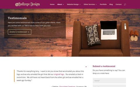 Screenshot of Testimonials Page bullzeyedesign.com - Testimonials | Bullzeye Design - captured July 31, 2016
