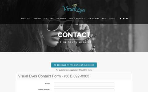 Screenshot of Contact Page bocaeyedoctor.com - Contact - Visual Eyes - captured Feb. 14, 2016