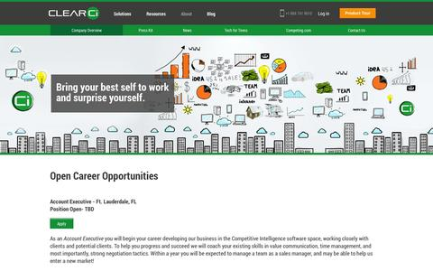 Screenshot of Jobs Page clearci.com - Careers - captured Sept. 30, 2014