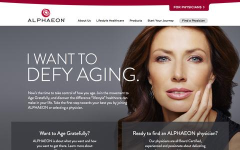 Screenshot of Home Page alphaeon.com - ALPHAEON | Welcome to Lifestyle Healthcare - captured Feb. 4, 2016