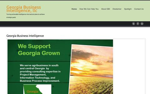 Screenshot of Home Page gbicompany.com - Georgia Business Intelligence, llc   Turning actionable intelligence into tactical plans to achieve strategic goals - captured Oct. 2, 2014