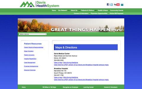 Screenshot of Maps & Directions Page davishealthsystem.org captured Sept. 30, 2014