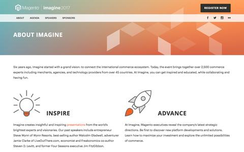 Screenshot of About Page magento.com - About Imagine | Imagine - captured Nov. 30, 2016