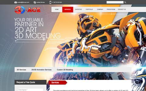 Screenshot of Services Page 3d-ace.com - Services | 3D-Ace Studio - captured Dec. 10, 2018