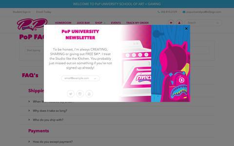 Screenshot of FAQ Page pop.university - PoP UNIVERSITY - captured Oct. 21, 2018