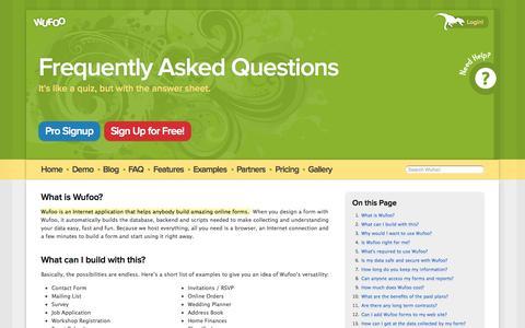 Screenshot of FAQ Page wufoo.com - FAQ's on Form Building, Integration, Setup and More | Wufoo - captured Sept. 16, 2014