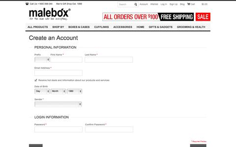 Screenshot of Signup Page malebox.com.au - Create New Customer Account - captured Oct. 1, 2014