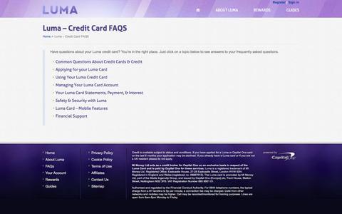 Screenshot of FAQ Page luma.co.uk - Luma – Credit Card FAQS - captured Nov. 4, 2014