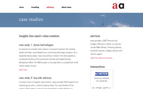 Screenshot of Case Studies Page aasa.com - aasa – case studies - captured Oct. 4, 2014