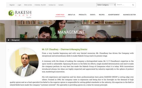 Screenshot of Team Page rakeshgroup.com - Management - captured Oct. 18, 2018
