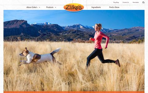 Screenshot of Home Page zukes.com - Zuke's – Healthy, Natural Dog Food and Treats - captured Oct. 25, 2016
