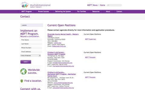 Screenshot of Jobs Page mdft.org - MDFT - Contact - captured Oct. 1, 2014