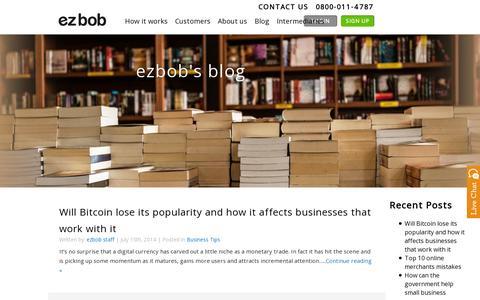 Screenshot of Blog ezbob.com - Blog | ezbob - captured July 20, 2014