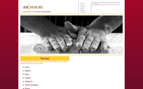 Screenshot of Site Map Page abmauri.com - AB MAURI | Global Expertise, Local Knowledge | We Know Baking! - captured Nov. 19, 2016