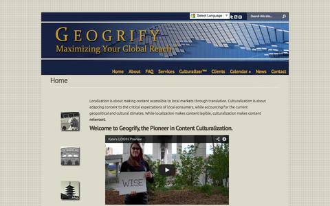Screenshot of Home Page geogrify.com - Geogrify |  | Geogrify - captured Oct. 2, 2014