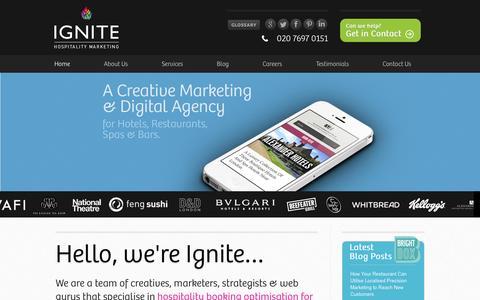 Screenshot of Home Page Site Map Page ignitehospitality.com - Restaurant & Hotel Internet Marketing, Website Design & Branding   Ignite Hospitality Marketing - captured Sept. 25, 2014