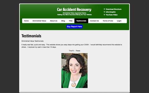 Screenshot of Testimonials Page caraccidentrecovery.com - Diminished Value Testimonials - captured Sept. 26, 2014