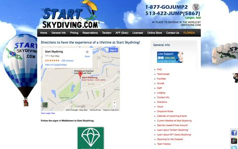 Screenshot of Maps & Directions Page startskydiving.com - Directions to Start Skydiving in Cincinnati - captured Sept. 30, 2014