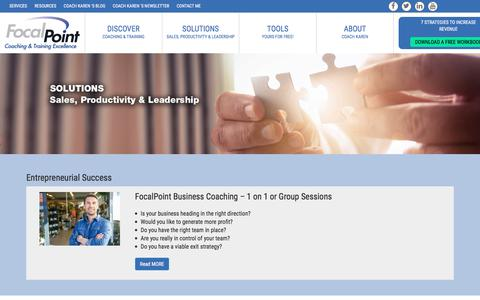 Screenshot of Services Page focalpointcoaching.com - Solutions - captured Oct. 14, 2017