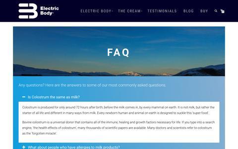 Screenshot of FAQ Page electricbody.eu - FAQ - Electric Body - captured Sept. 27, 2018